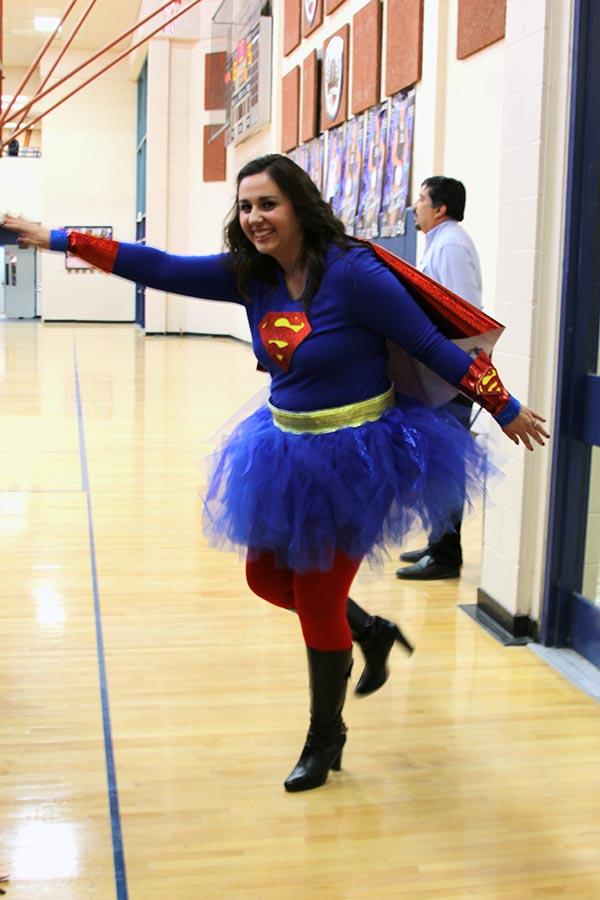 Rivadeneira dress as superwoman for Halloween.