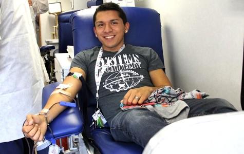 Pedro donating blood.