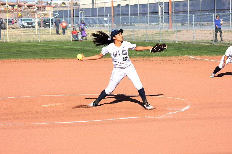 Deanne pitches against Riverside.