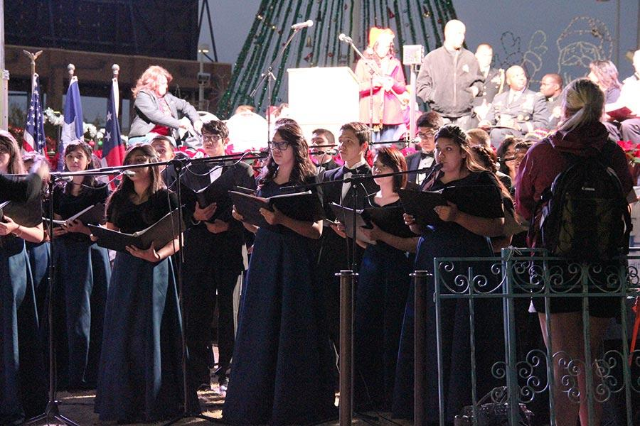 Varsity choir performs at the Celebration of Lights, in Cleveland Square, Dec. 6.