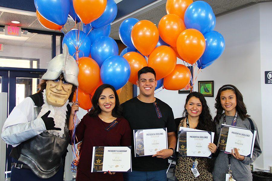 Scholarships recipeints Evelyne, Cristian, Ariana, and Nathalia.