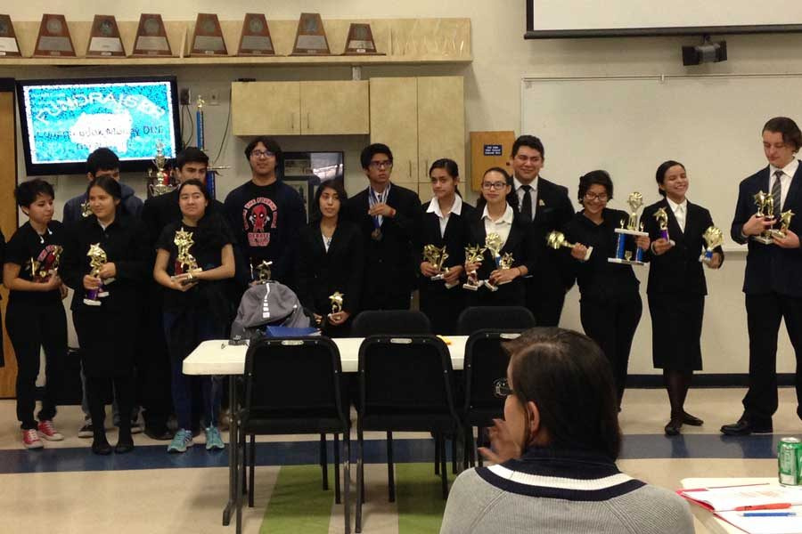 The Debate team with their awards