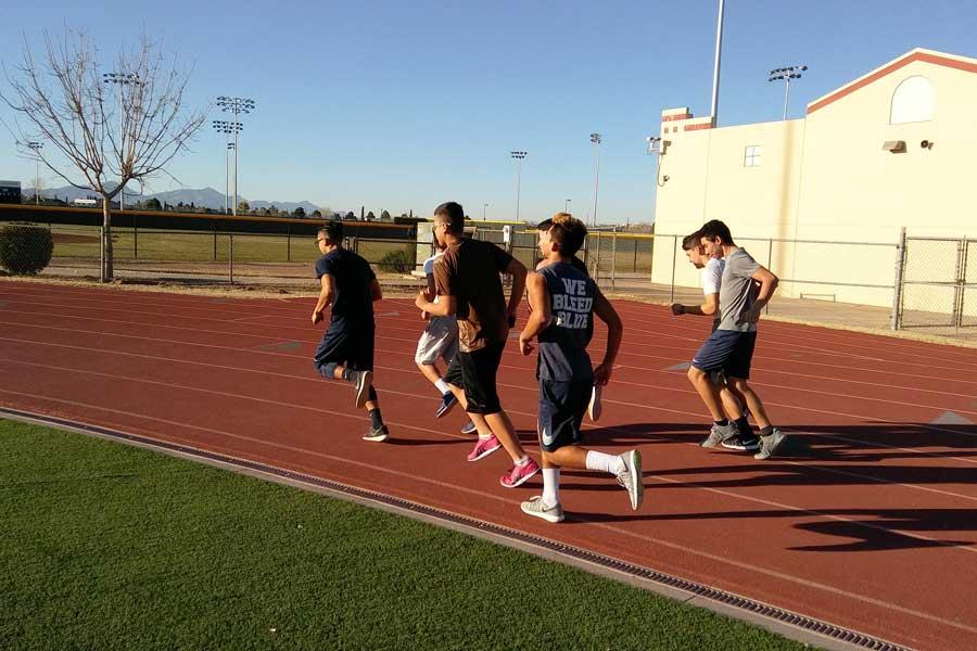 Freshmen track runners at daily practice, Jan. 31.
