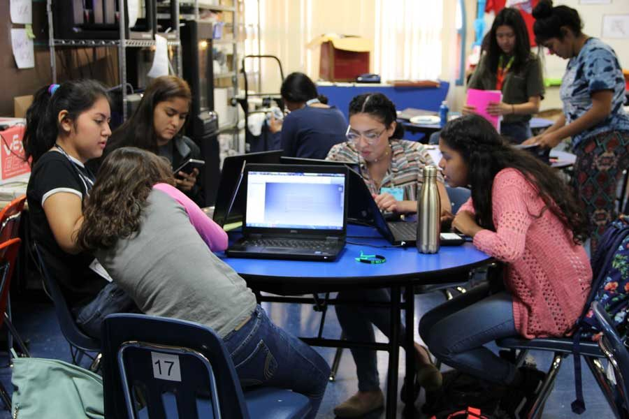 All-girls engineering class working on spring projects, April 18.
