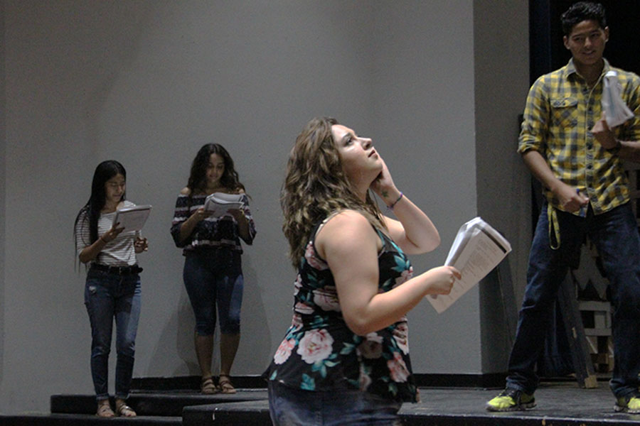 Valeria, Isabel, Destiny and Caleb rehearse for The Little Shop of Horrors, Sept. 19 in the theater.