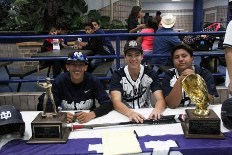 Baseball team members Alejandro, Andrew and Guerrero recruit incoming freshmen to the baseball team.