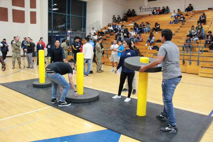 An obstacle course, set up by the U.S. Army set the  to win prizes.