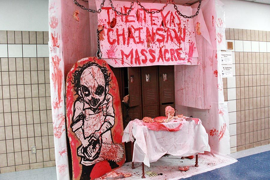 Theater%27s+%22Texas+Chainsaw+Massacre%22+inspired+door+for+the+2018+homecoming+door+decorating+competition.