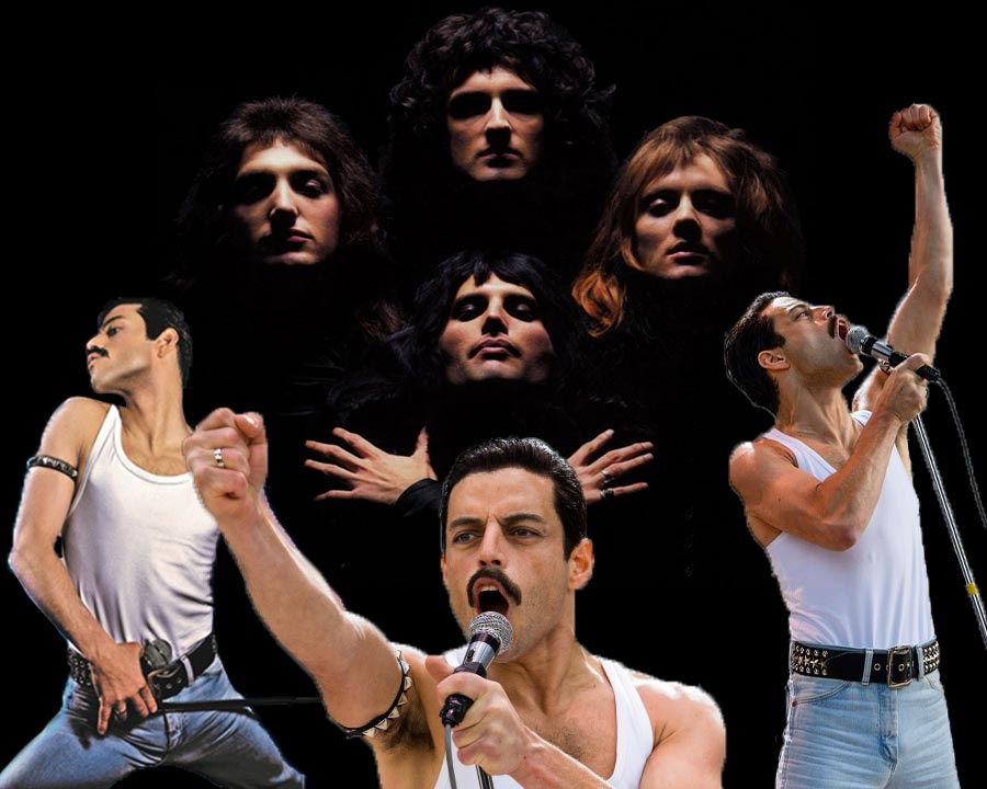 Freddie Mercury, Brian May, Roger Taylor, and  John Deacon stand behind the actor Rami Malek, who plays Freddie Mercury in the movie Bohemian Rhapsody.