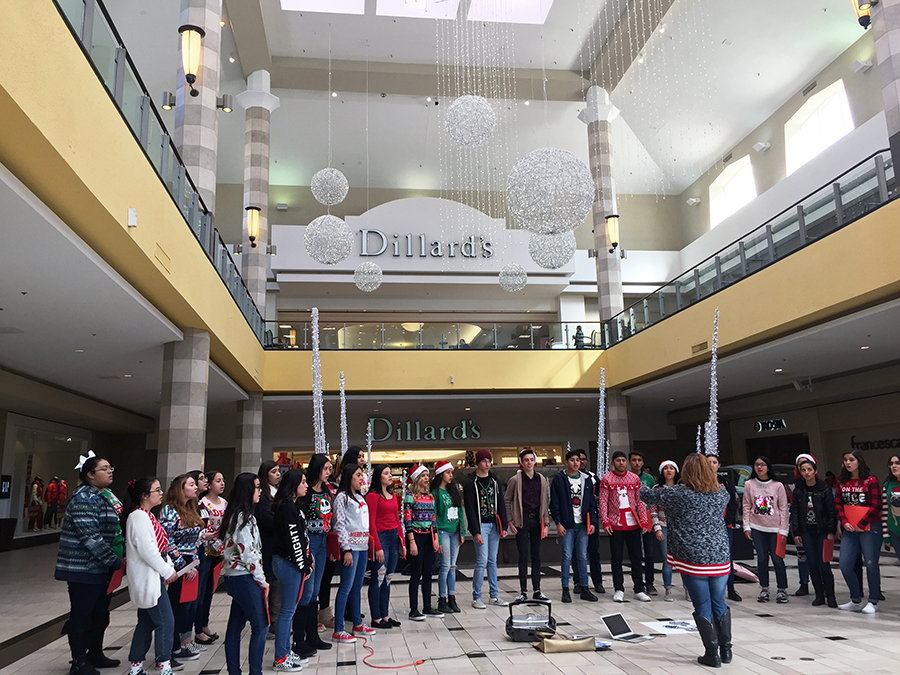 Treble choir and Bella Voce sing Frosty the Snowman at Cielo Vista Mall, Dec. 14.