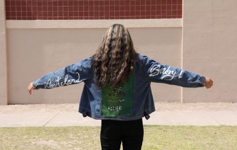 Dania Fierro in Hozier jacket made by Hillary Monclova.