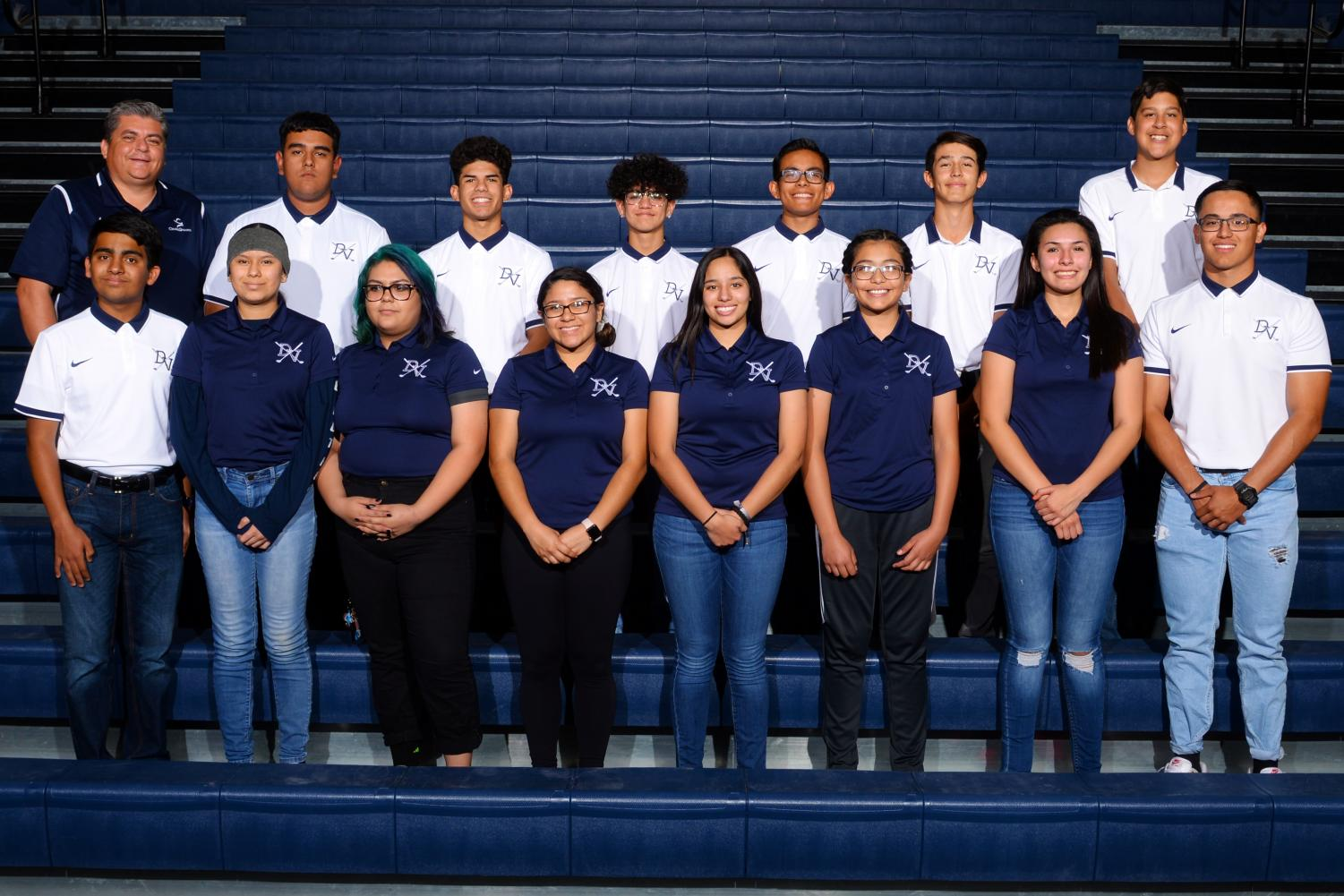 2018-2019 golf team members Aaron, Ethan, Anson, Alex, Luis, Victor, Miguel, Danni, Hillary, Brianna, Adrian, Kailey, Jackie, and Roman along with Coach Cordova.