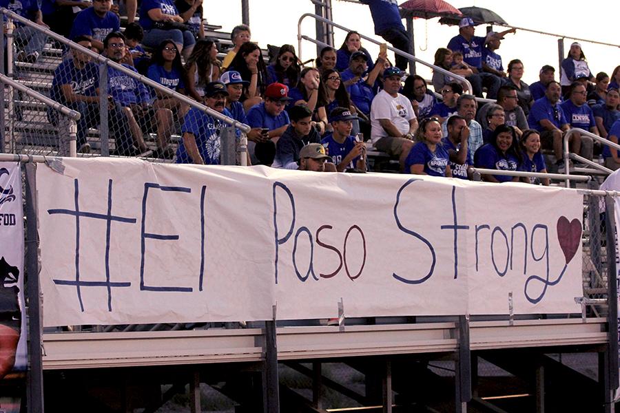 #ElPasoStrong poster displayed during a football game.