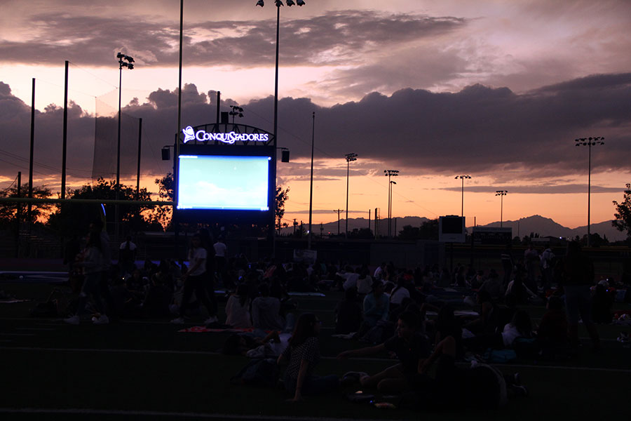Students wait for 'The Nightmare Before Christmas' to start in Conquest Stadium, Oct. 4.