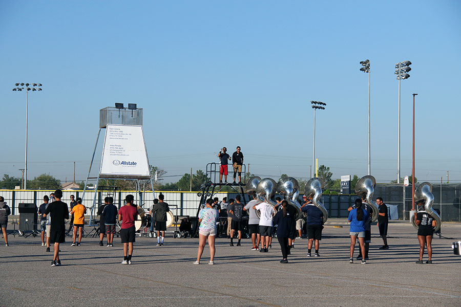 Marching band during morning rehearsal, on Sept. 18th
