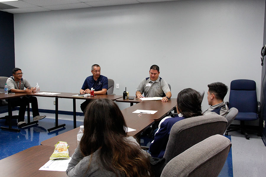 A PAC meeting is in session Sept.24, with PAC leader Principal Antonio Acuña, sponsor Chris Lopez  and member Gabriel Oropeza.
