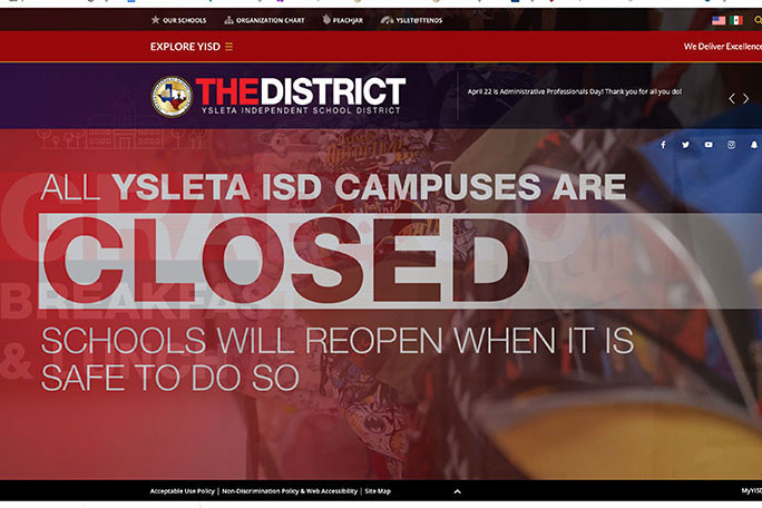 All campuses were shut down after El Paso extended stay at home orders to May 11.
