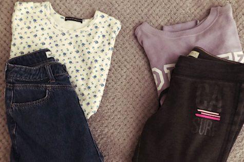 Student school clothes before quarantine. Student online school clothes during quarantine.