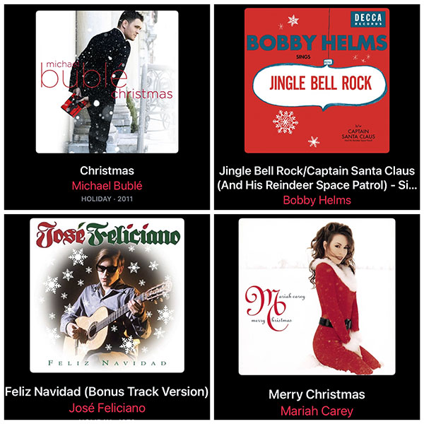 The album cover art for the top Christmas songs.