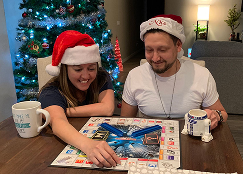 Playing board games  through the holidays.