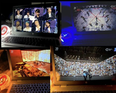 A photo collage of the different sets Stray Kids used at their concert.
