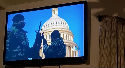 NBC news shows the National Guard posted outside the U.S. Capitol after the brutal attack it faced on Jan. 6.