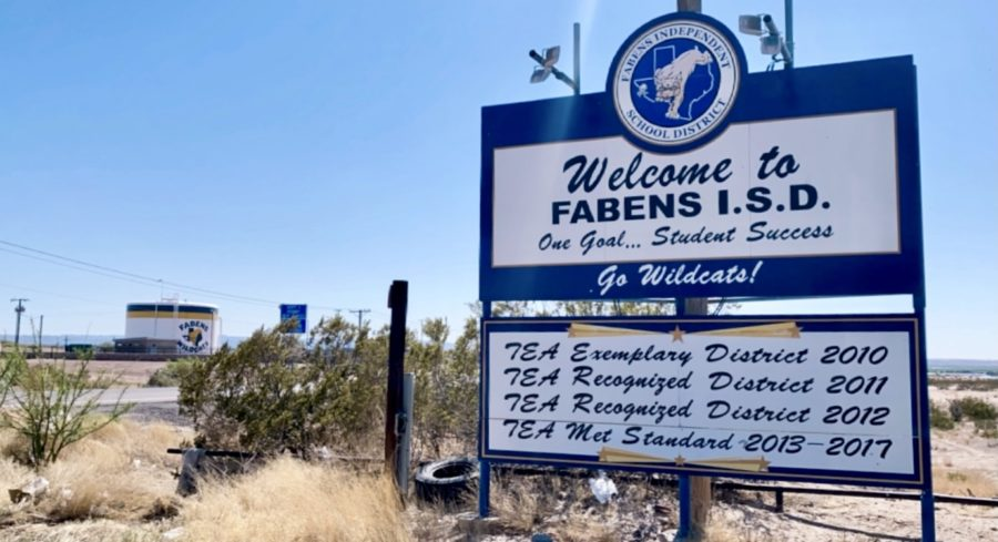 The Fabens ISD sign welcomes individuals and displays the accomplishments it has achieved.