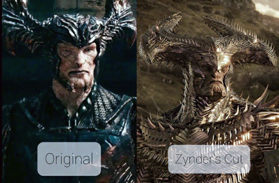 Visual differences between both versions of the Justice League movie